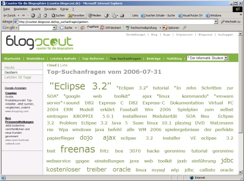 Tag-Wolke im neuer Blogscout-Counter